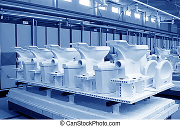 Ceramic toilet products in a workshop - Ceramic toilet...