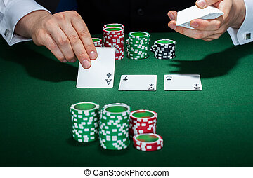 Croupier arranging cards - Close-up of croupier arranging...
