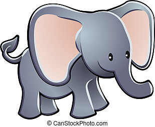 Lovable Elephant Cartoon Vector Illustration - A lovable...