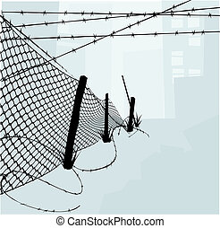 Chain Link Fence and Barbed Wire Vector Illustration - Chain...