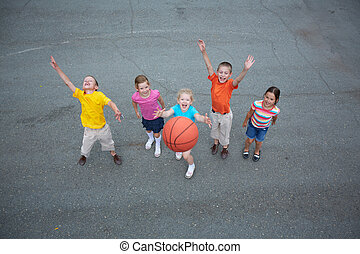 Basketball players - Image of happy friends playing...