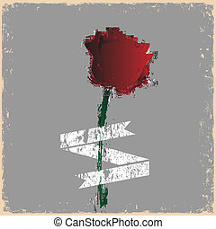 Grunge rose with banner - vintage style