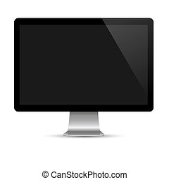 Modern computer monitor with black screen. Vector EPS10