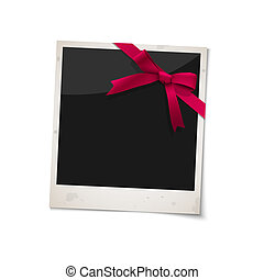 Polaroid photo frame with bow red ribbon. Vector EPS10