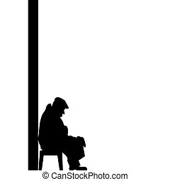 Silhouette of old man