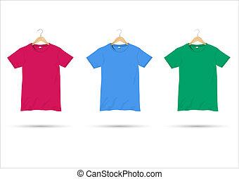 Tshirts on hangers. Vector set