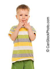 Little boy in striped t-shirt
