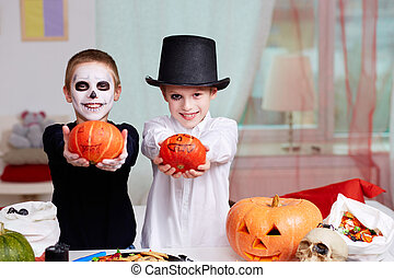 Halloween evening - Photo of two eerie boys with Halloween...