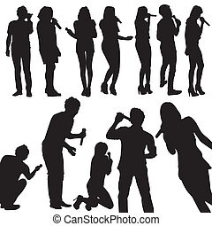 singers silhouette set vector isolated on white background...