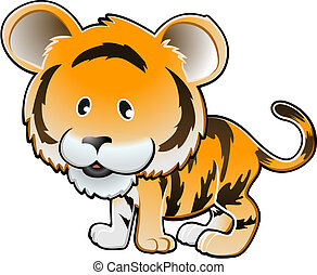 Cute Tiger Vector Illustration - A vector illustration of a...