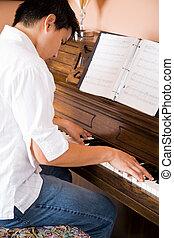 asiático, juego, piano