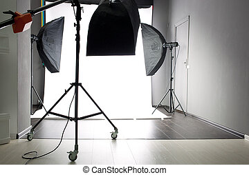 Empty photo studio - interior of modern photo studio with...