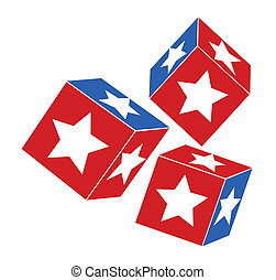 4th of july design - dice with star