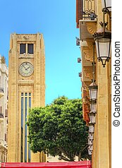Downtown Beirut, Lebanon - A view of the clock tower in...