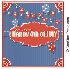 4th of july Vector - greeting Vecto - vintage old - 4th of...