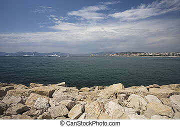Mediterranean sea photographed in Cannes, France