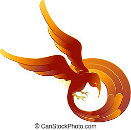 A swooping fiery bird - A vector illustration of a swooping...