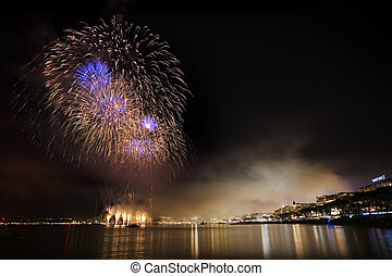 Fireworks on the mediterranean sea (Cannes, France)