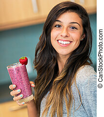 Woman with Fruit smoothie - Beautiful Young Woman with Fruit...