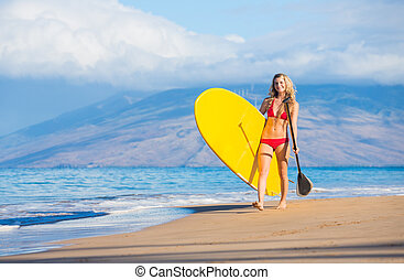 Woman with Stand Up Paddle Board - Attractive Woman with...