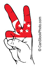 Peace Sign of the Singapore flag