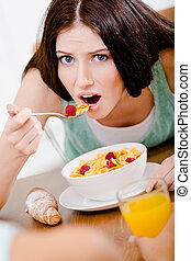 Girl eating dieting breakfast - Girl eating healthy...