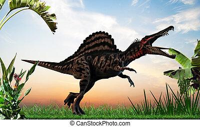 spinosaurus walking into the wild
