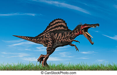spinosaurus running into the wild
