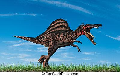 spinosaurus running into the wild