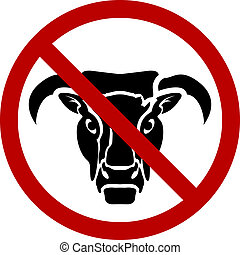 No bull - A �no-bull� sign or icon, symbolising plain...