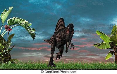 Stegosaurus - spinosaurus running into the wild