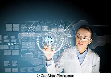 Innovation technologies - Image of young woman scientist...