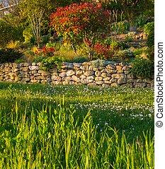 Beautiful garden on a handmade hill