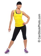 Beautiful fitness girl isolated on white background