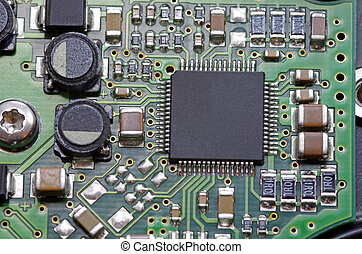 Close up image of a electronic board