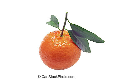 Clementine with green leaves, close up image