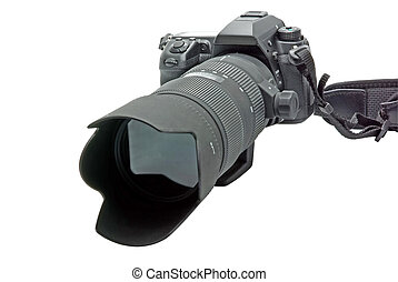 Camera with zoom lens isolated on white