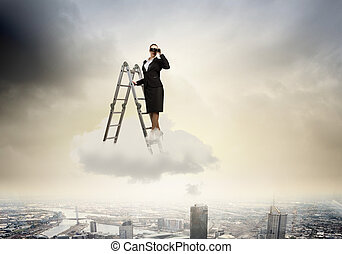 Business vision - Image of businesswoman standing on ladder...