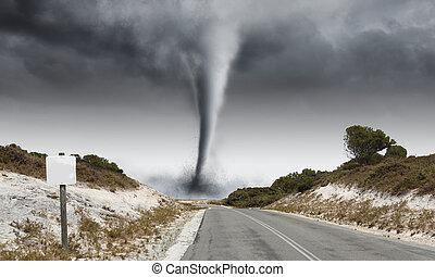 Tornado on road - Image of powerful huge tornado twisting on...