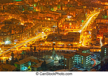 Night scene with buildings and lights