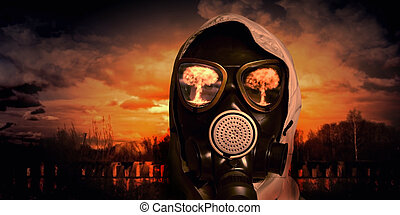 Man in gas mask - Image of man in gas mask. Ecology concept