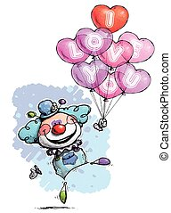 Clown with Heart Balloons Saying I Love You - Boy Colors