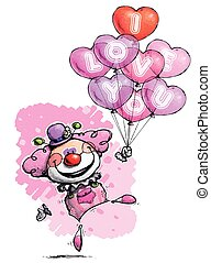 Clown with Heart Balloons Saying I Love You - Girl Colors