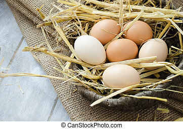 Brown hen eggs in a basket - Brown eggs on a straw bedding...