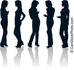 Young women silhouettes - Vector set of young women...