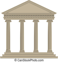 RomanGreek Temple with ionic columns, high detailed