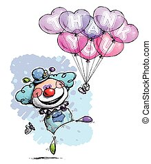 Clown with Heart Balloons Saying Thank You - Boy Colors -...