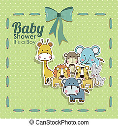 baby shower animals icons over dotted background vector...