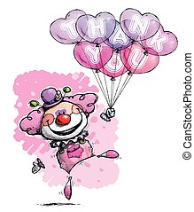 Clown with Heart Balloons Saying Thank You -  Girl Colors