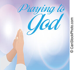 praying to God - praying to god over sky background vector...